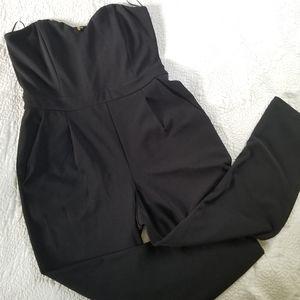 Express Black Strapless Jumpsuit